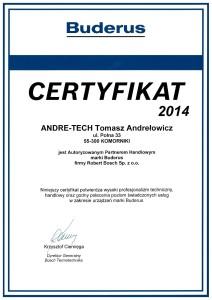Certyfikat Buderus 2014