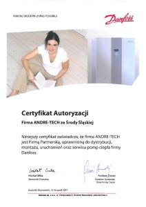Certyfikat Danfoss 2007