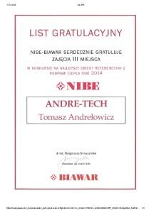 List gratulacyjny Nibe 2014